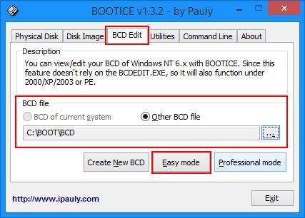 Выбор файла BCD в BootIce