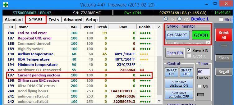 Диагностика состояния жесткого диска (S.M.A.R.T) при помощи Victoria API
